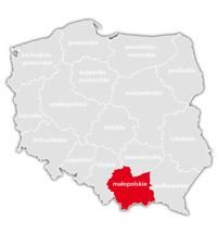 Mapa nadajników DVB-T: województwo małopolskie