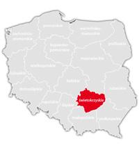 Mapa nadajników DVB-T: województwo świętokrzyskie