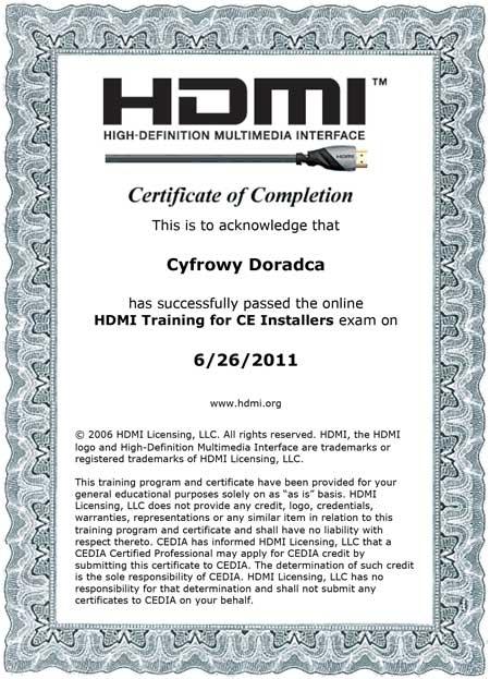 HDMI certyfikat Cyfrowego Doradcy