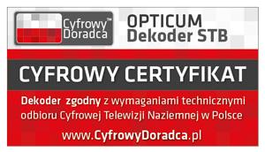 OPTICUM Dekoder STB zgodny z wymaganiami do odbioru cyfrowej telewizji naziemnej w Polsce.
