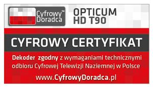 HD T90 dekoderem certyfikowanym do odbioru cyfrowej telewizji naziemnej