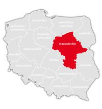 Mapa nadajników DVB-T: województwo mazowieckie