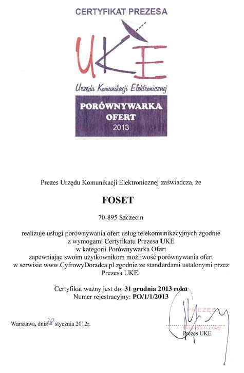 Certyfikat Prezesa UKE dla porównywarki ofert 2013