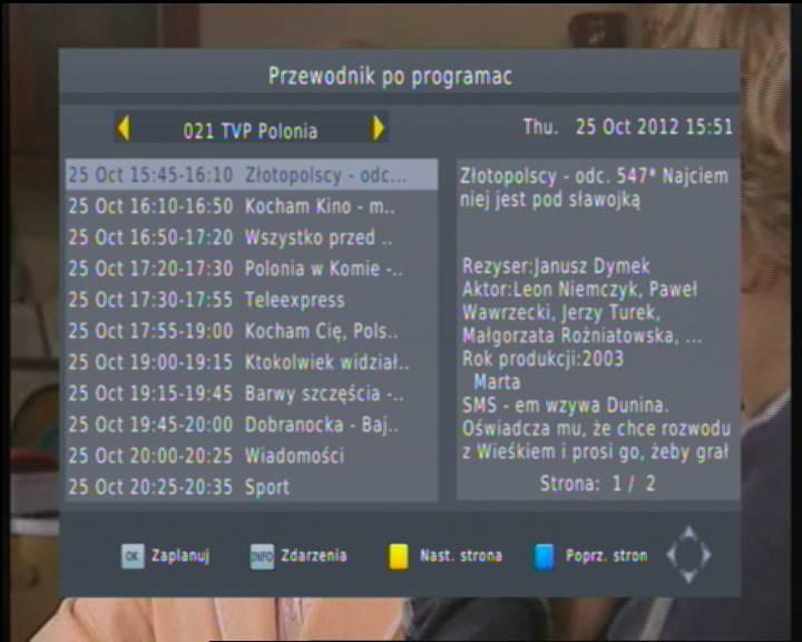 EPG dekodera MANTA DVBT06