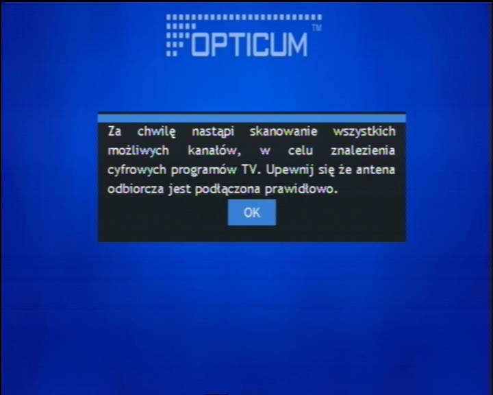 Powitanie dekodera OPTICUM Dekoder STB HD N1