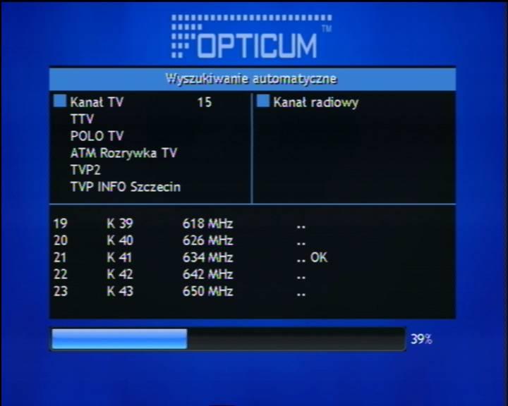 Opticum Dekoder STB HD N1 wyszukiwanie kanałów DVB-T