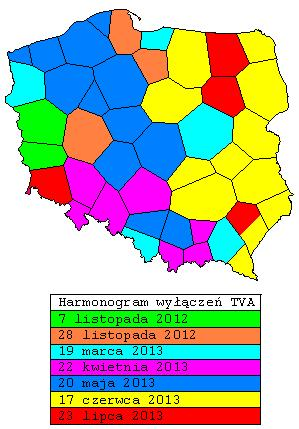 Mapa harmonogramu wyłączenia telewizji analogowej