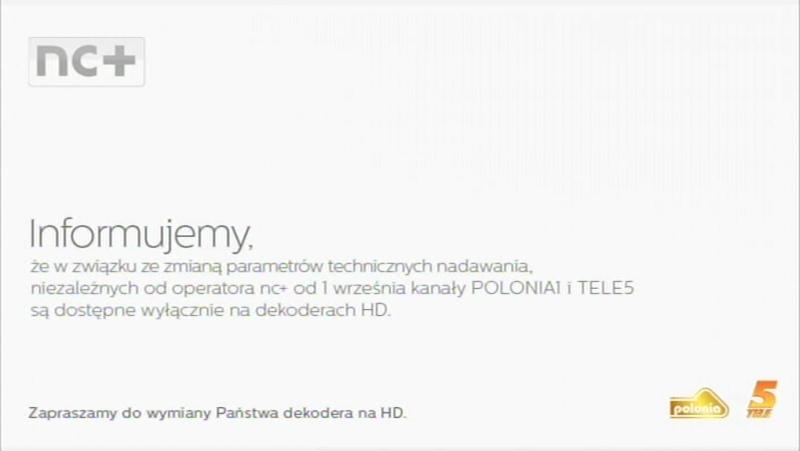 Plansza informująca o zmianie parametrów technicznych emisji Polonii 1 i Tele 5.