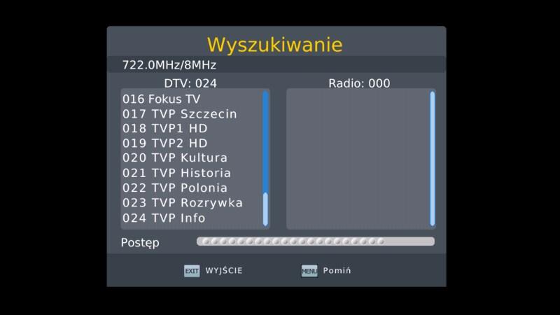 Automatyczne wyszukiwanie kanałów w dekoderze Manta DVBT06