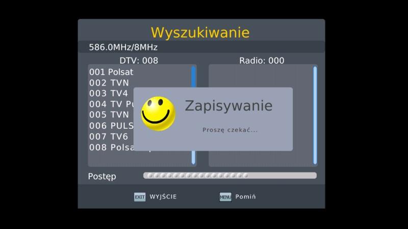 Ekran informujący o zapisywaniu listy ściągniętych programów DVB-T w dekoderze Manta DVBT06