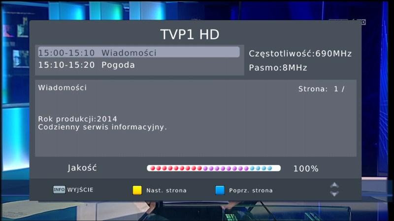 Pasek informujący o jakości odbieranego sygnału DVB-T na dekoderze Manta DVBT06