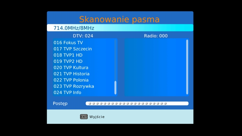 Automatyczne skanowanie pasma w dekoderze Canva CN-DVB-T261