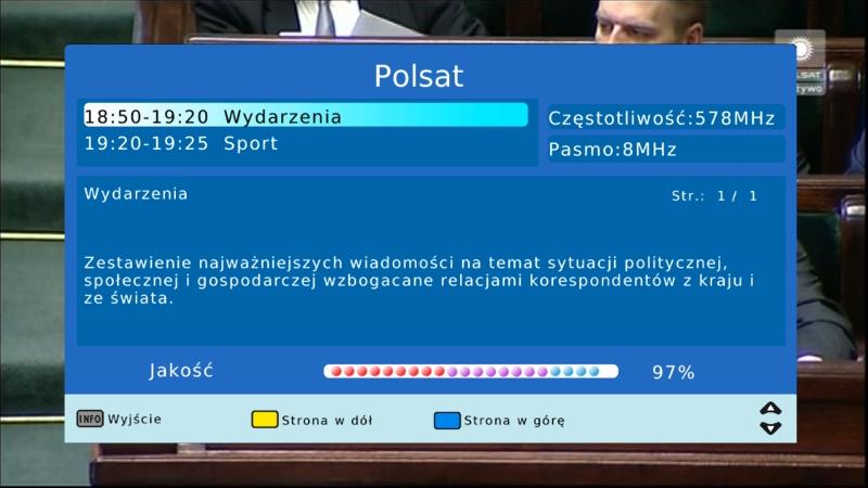 Pasek informujący o jakości odbieranego sygnału DVB-T na dekoderze Canva CN-DVB-T261