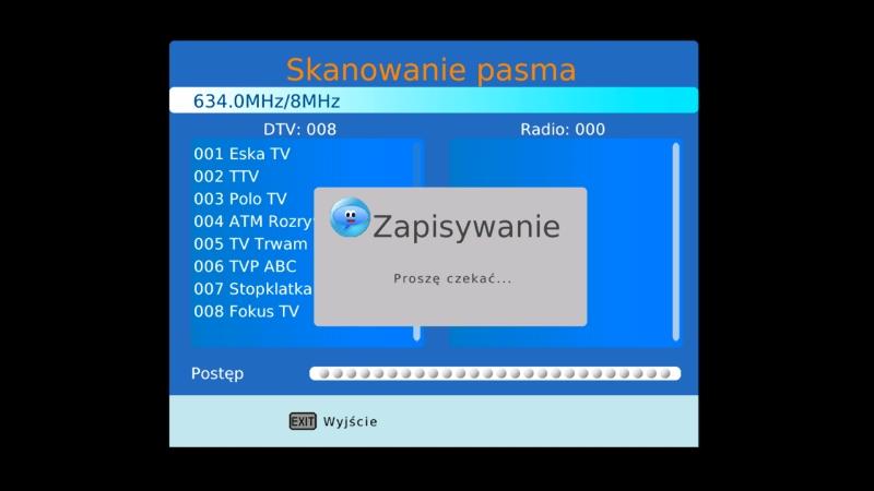 Ekran informujący o zapisywaniu listy ściągniętych programów DVB-T w dekoderze Canva CN-DVB-T261
