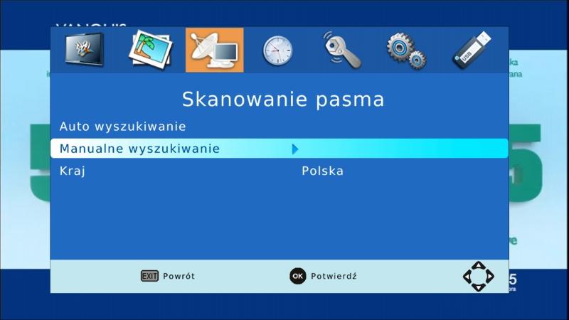 Opcja manualnego wyszukiwania w menu dekodera Canva CN-DVB-T261