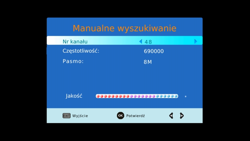 Manualne wyszukiwanie kanałów w dekoderze Canva CN-DVB-T261