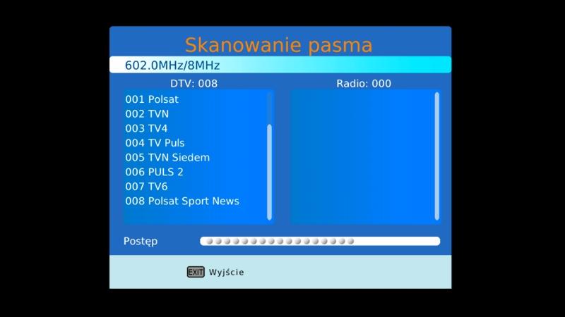 Automatyczne skanowanie pasma w dekoderze Canva CN-DVB-T710