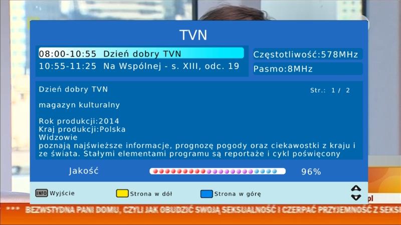 Pasek informujący o jakości odbieranego sygnału DVB-T na dekoderze Canva CN-DVB-T710