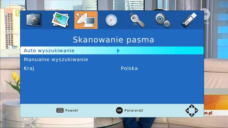 Menu dekodera Canva CN-DVB-T710 z podświetloną opcją skanowania pasma
