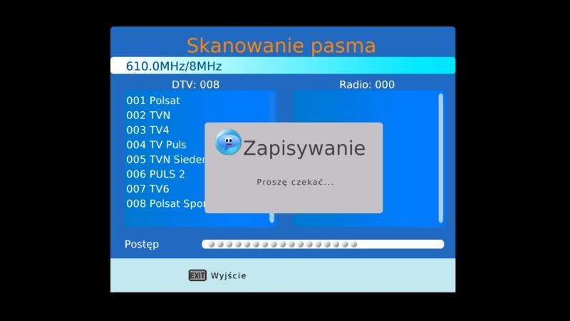 Ekran informujący o zapisywaniu listy ściągniętych programów DVB-T w dekoderze Canva CN-DVB-T710