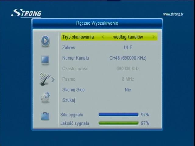 Ręczne wyszukiwanie cyfrowych kanałów naziemnych na dekoderze Strong SRT 8113.