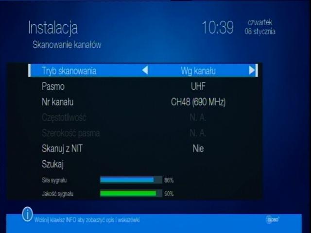 Ręczne wyszukiwanie cyfrowych kanałów naziemnych na dekoderze Globo STB (HD N3).