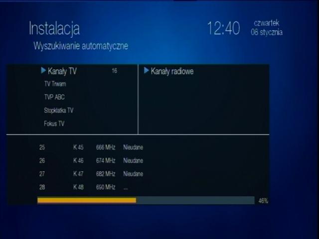 Automatyczne wyszukiwanie cyfrowych kanałów naziemnych na dekoderze Globo STB (HD N3).