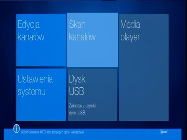 Główne menu dekodera STB (HD N3) z podświetlonym podmenu Skan kanałów.