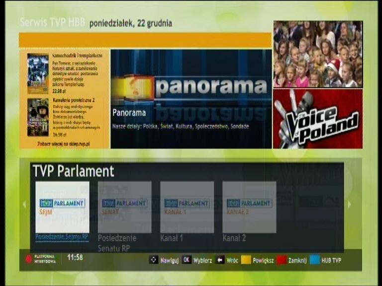 Możliwość wyboru transmisji z obrad Sejmu za pośrednictwem Hbb TV