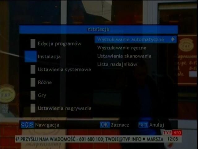 Pasek informujący o jakości odbieranego sygnału DVB-T przez dekoder Opticum HD FT24p