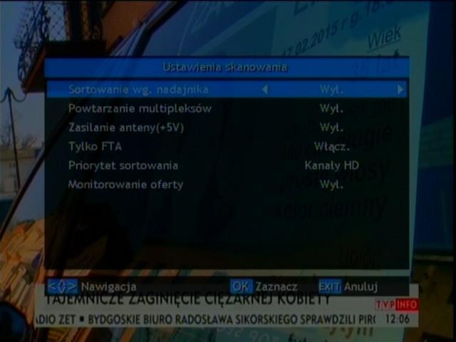 Wybór opcji automatycznego wyszukiwania kanałów w dekoderze Opticum HD FT24p