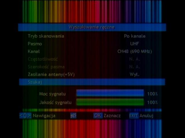 Wybór opcji ręcznego wyszukiwania kanałów w dekoderze Opticum HD FT24p
