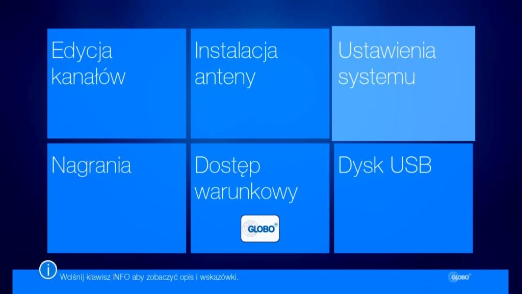 Menu główne dekodera Globo HD X110 TS w systemie kafelkowym