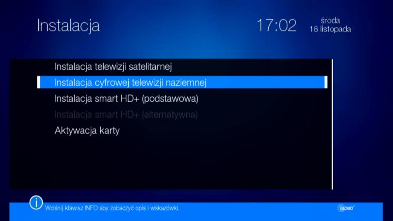 Menu Instalacja anteny w dekoderze Globo HD X110 TS