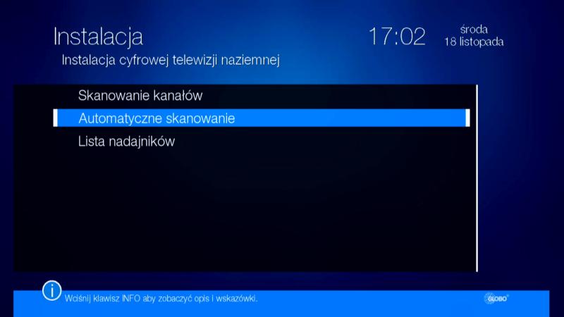 Automatyczne skanowanie kanałów w dekoderze Globo HD X110 TS