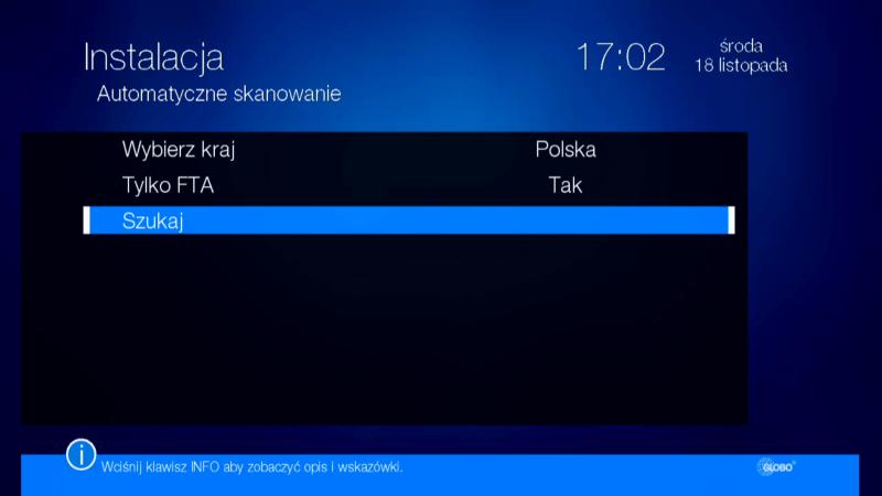 Dodatkowe funkcje dekodera Globo HD X110 TS w menu automatycznego skanowania