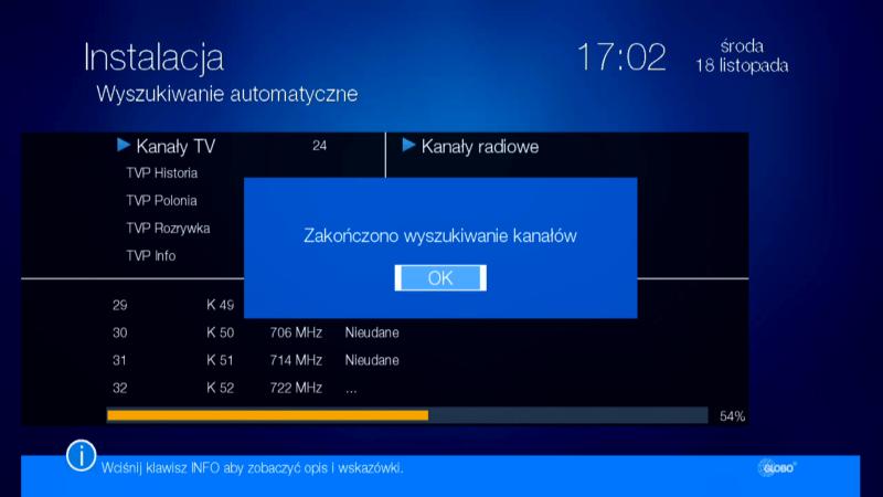 Prawidłowe zakończenie wyszukiwania kanałów w dekoderze Globo HD X110