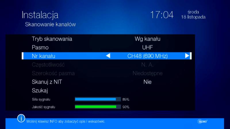 Ręczne wyszukiwanie cyfrowych kanałów naziemnych na dekoderze Globo HD X110 TS