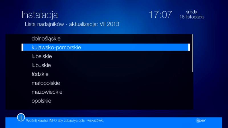Lista nadajników ułatwiająca skanowanie kanałów w dekoderze Globo HD X110 TS