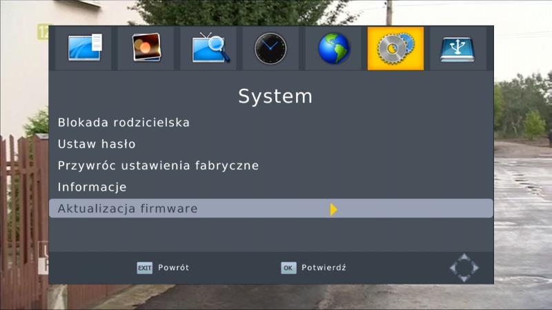 Wybór opcji aktualizacji firmware w dekoderze Manta DVBT06