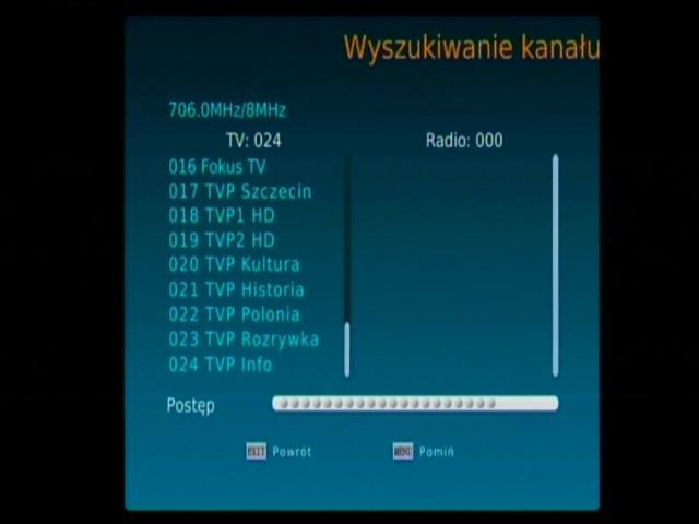 Wyszukiwanie kanałów DVB-T w dekoderze Synaps THD-2000S
