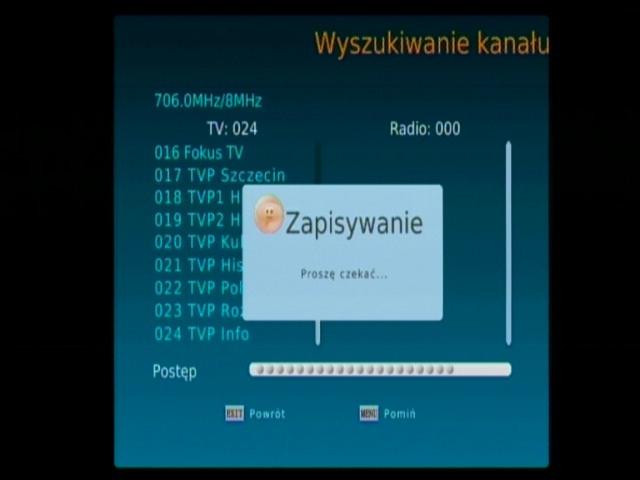 Informacja o zapisie wyszukanych kanałów DVB-T w dekoderze Synaps THD-2000S