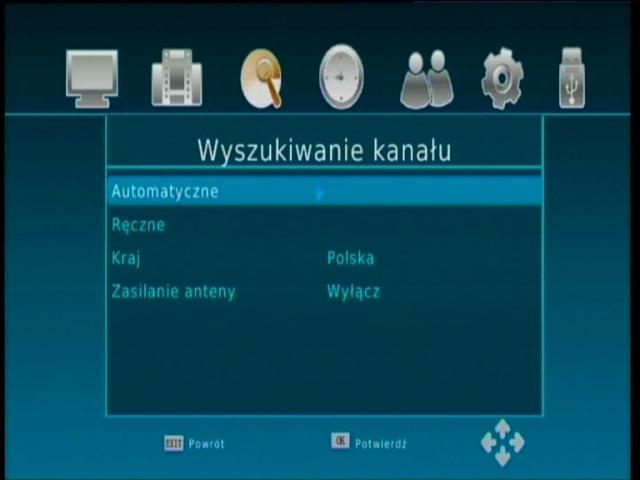 Podmenu dekodera Synaps THD-2000S z funkcją automatycznego wyszukiwania kanałów