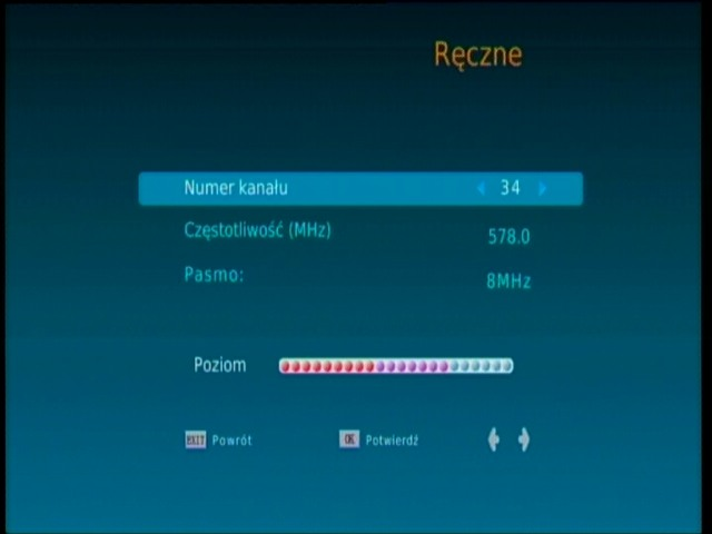 Ręczne wyszukiwanie cyfrowych kanałów naziemnych na dekoderze Synaps THD-2800S
