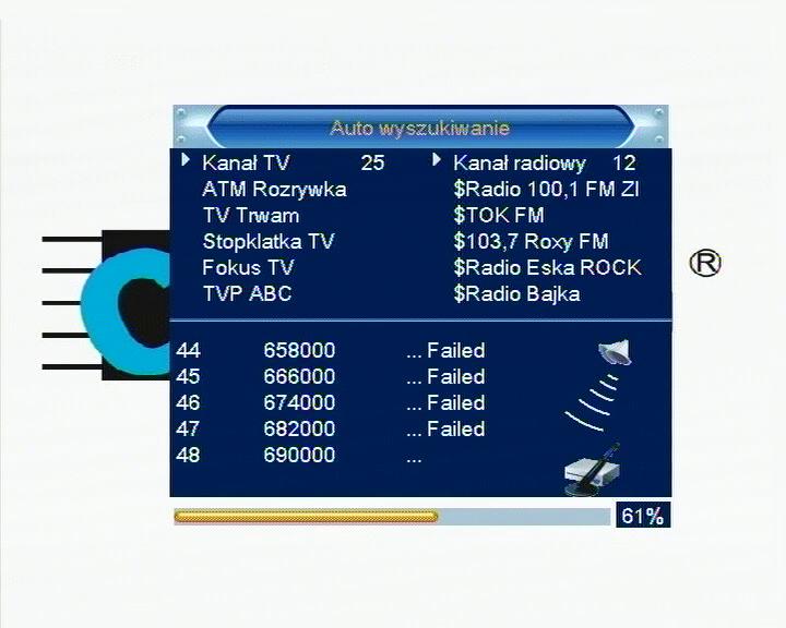 Wyszukiwanie kanałów DVB-T w dekoderze Cabletech URZ0084