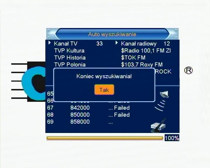 Informacja o zakończeniu wyszukiwania kanałów DVB-T w dekoderze Cabletech URZ0084