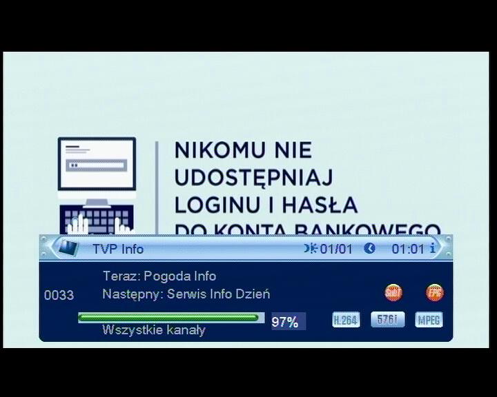 Ostatnia pozycja na liście kanałów w dekoderze Cabletech URZ0084