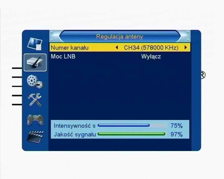 Informacja o jakości odbieranego sygnału DVB-T w dekoderze Cabletech URZ0084