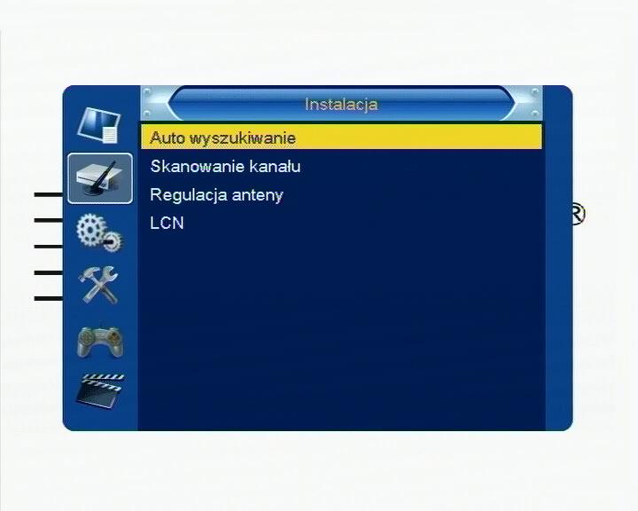 Podmenu dekodera Cabletech URZ0084 z funkcją automatycznego wyszukiwania kanałów