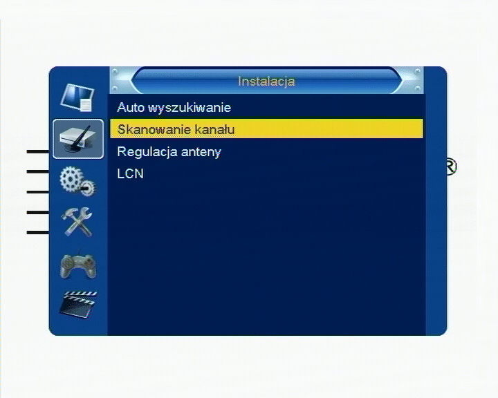 Wybór opcji ręcznego wyszukiwania cyfrowych kanałów naziemnych na dekoderze Cabletech URZ0084